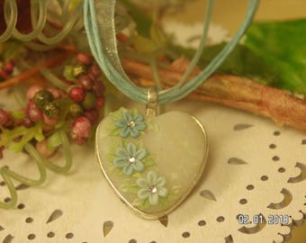 Floral Heart Pendant in Blues