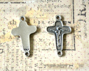 Cross - Connector - Pater Bead - SET OF SIX - Rosary Supplies - Chaplet Supplies - Italian