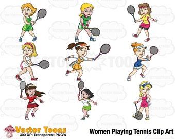 Women Playing Tennis Clip Art, Digital Clipart, Digital Graphics