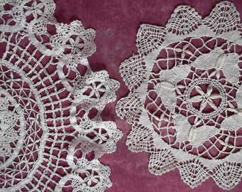 2 beautiful doilies Cluny lace