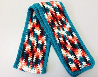 Orange, brown, teal variegated scarf