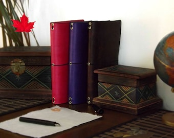 Leather Travelers Notebook 4 SIZES for - Midori - Molskine - A5 - B6 - B6 slim Fauxdori - personal day planner diary composition inserts