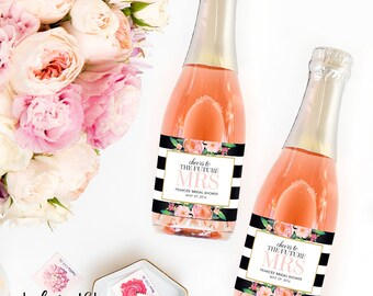Bridal Shower Favor Mini Champagne Labels - Weatherproof Wedding Shower Favors Stipe Floral Miss to Mrs. Bachelorette Party Decorations