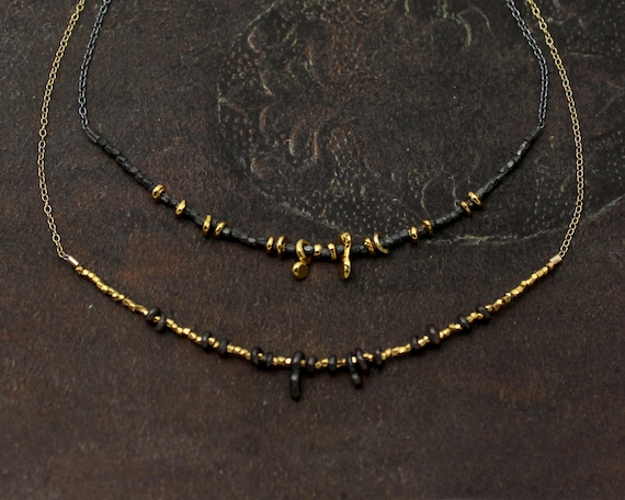 Mixed Metal Necklace. Beaded Necklace.  Nugget Necklace.  Layering Necklace. Unique irregular Jewelry. NM-2221