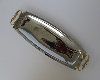 Long Kromex Silver Chrome Tray