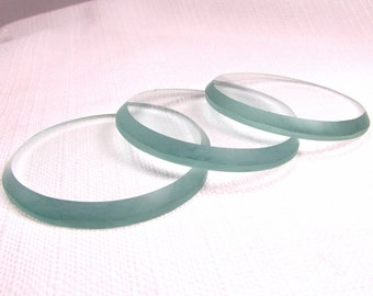 """Vintage Bevels: 2"""" Clock Face Glass - Heavy Glass Inserts - Set of 3 Matching Pieces"""