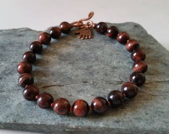 RED TIGER EYE Beaded Bracelet with Copper Hook Clasp. Rust-Brown Tiger's Eye Stone. Choice of 6mm or 8mm Round Beads. Mens,Womens Tigereye.