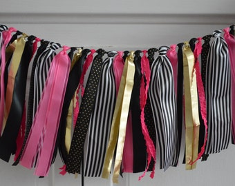 Black Gold Pink Ribbon Garland // Ribbon Banner // Baby Shower // Bridal Shower // Birthday Party // Bachelorette //