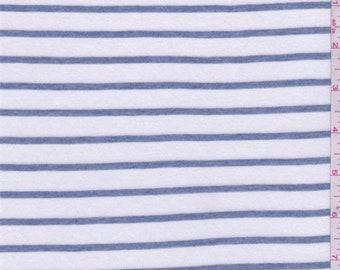 White/Slate Blue Stripe T Shirt Knit, Fabric By The Yard