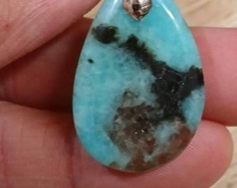 Amazonite and smoky quartz pendant