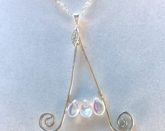 Initial Necklace, Silver Letter, Sterling Silver, Letter and Butterfly, Letter and Heart, Letter and Flower, Letter and Leaves, Wire Wrap
