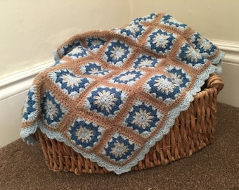 Crochet baby blanket, granny squares with a scalloped edge, handmade brown,, blue and cream design