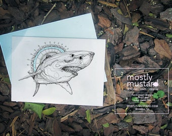 SET of 4- 5x7 - 2 Shark and 2 Octopus, Greeting Card, 5x7 with envelope