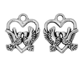 """10 pieces Antique Silver Love Birds Carved Charms, 18mm( 6/8"""") x 16mm( 5/8"""")"""