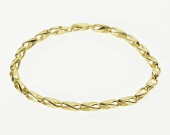 14k 4.5mm Rounded Fancy Chain Link Bracelet Gold 7.5""