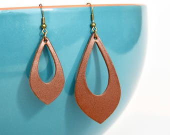 Hickory Leather Cut Out Earrings:  Saddle Brown  //  Leather Teardrop Cut Out Earrings--Leaf Earrings // Gifts Under 20