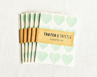 48 Mint Green Mini Heart Stickers - 3/4 Inch Envelope Seals Small Gift Wrapping Party Invitations Embellishment Pretty Packaging