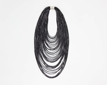 Multi-Strand Black Scarf Necklace - Contemporary Infinity Sparkly Jersey Textile Fashion Statement Accessory