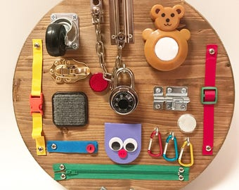 Travel Busy Board, Toddler Busy Board, Sensory Board, Toddler toy, Montessori Activity Board,