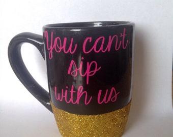 11oz black glitter dipped coffee mug // mean girls // mean girls coffee mug // gold glitter // black coffee mug