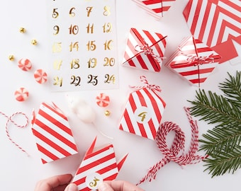 Advent Calendar | Christmas Decorations | Red and White Advent Boxes | Advent Calendar Kit | Advent | Advent Numbers | Red & Gold Christmas