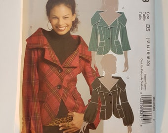 "UNCUT Sewing Pattern for Woman's Princess Seam Jacket with Optional Mutton Sleeves Size 12-20 Bust 34 to 42"" McCall's M5478"