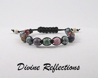 Knotted Gemstone Bracelet, Knotted Multi Color Bracelet, Gemstone Multi Color Bracelet, Knotted Bracelet