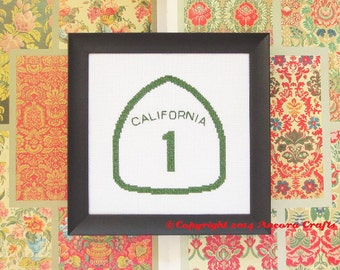 California Cross Stitch Pattern - Highway Road Sign PDF