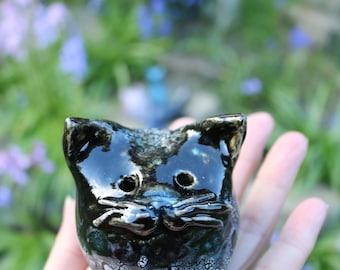 Fat black ceramic cat, pottery cat, cat sculpture, shiny black cat, cobblestone cat, whimsical, decorative, hand made, unique, cat lovers