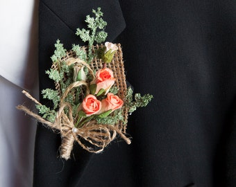 Rustic chic wedding coral boutonniere, Groomsmen boutonniere, Groom buttonhole, Best man groom corsage, Groomsmen corsage, Boutonniere prom