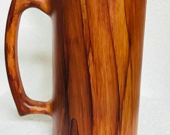 Hand painted, wood grain, glass, 20 ounce, beer mug.