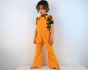 Kids yellow dungarees 4-5yrs SALE overalls spring clothing cotton corduroy vintage flared unisex girl boys baby retro rainbow lemon flares