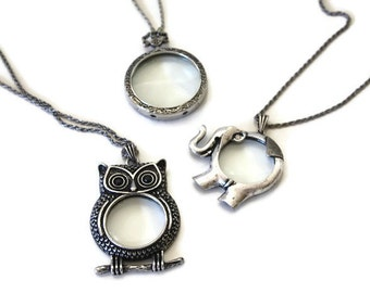 Magnifying Pendant Necklace / Long Chain Necklace