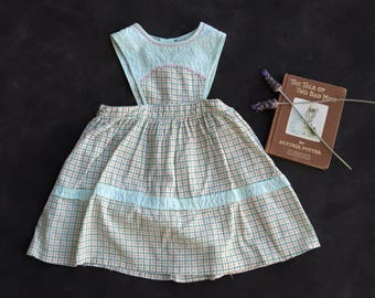 Vintage Girls Checked Pinafore Dress - Craft Apron - size 1