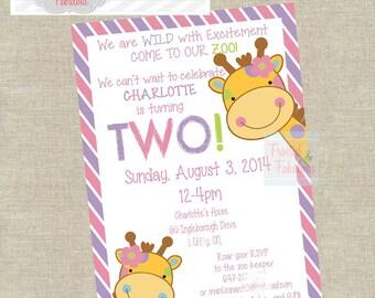 Girl Zoo Party Invite