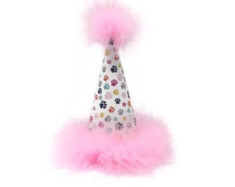 Dog Party Hat, Dog Birthday Hat, Paw Print Party Hat, Light Pink Paw Prints