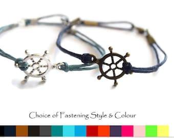 Ships Wheel Bracelet, Boat wheel bracelet, Mens bracelet, Friendship bracelet, Nautical Bracelet, Cord bracelet, Womens bracelet