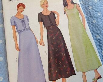 Butterick Pattern 6932, Long Dress Pattern, Bolero Jacket Pattern, Uncut Pattern, sizes 14 16 18 Pattern