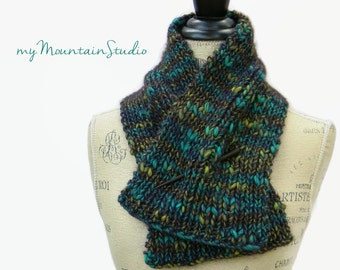 Ladies Gorgeous Wool Blend Hand Knit Neckwarmer Scarf - Handmade in Montana - Ready to Ship