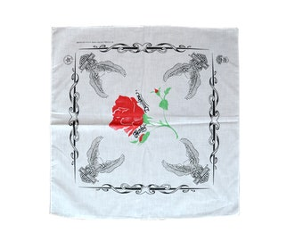 New Old Stock Vintage Harley Davidson White Roses Eagles Bandana