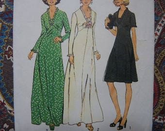 vintage 1970s Simplicity sewing pattern 6667 dress in 2 lengths size 16