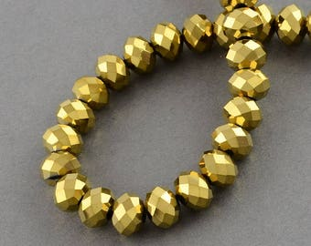 150 pcs Rondelle  FACETED GLASS CRYSTAL Beads 4mm x 3mm Jewellery Making Metallic Gold