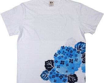 "T-shirt Men's  ""Hydrangea""  AJISAI japan Flower hand-painted  M L XL 2XL Big size White Black made in Japan"