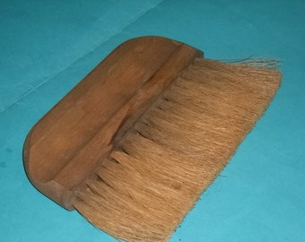 Horse Hair Brush with a Wide Wooden Handle and Hand Groove