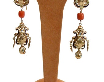 Coral Gold Earrings and enamels