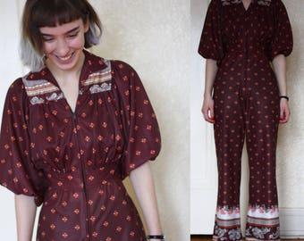 1970s jumpsuit // vintage 70s jumpsuit // 1970s one piece