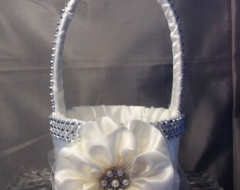 Ivory Flower Girl Basket with Rhinestone Mesh handle and Trim, Custom Made to Order