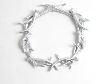 SALE - Silver Antler Wreath Wall Decor