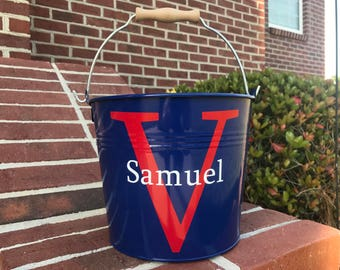 Personalized Easter Bucket, Metal Easter Bucket, Name Initial Easter Bucket, Red White Blue Easter Bucket, Metal Easter Basket