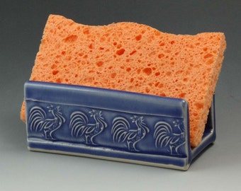 Ceramic Sponge Holder, Pottery Sponge Holder in Sapphire Blue with Rooster Motif, Soap Dish - READY TO SHIP